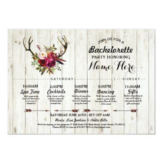 Bridal Shower Itinerary Bachelorette Antler Rustic Card
