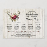 """Bridal Shower Itinerary Bachelorette Antler Rustic Program<br><div class=""""desc"""">Rustic Bachelorette Shower or Bridal Shower Itinerary - Front and back included. Change the schedule,  time,  text to suit your party!</div>"""