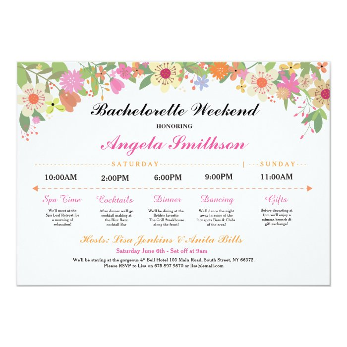 Bridal shower itinerary bachelorette schedule card zazzle for Bridal shower itinerary template