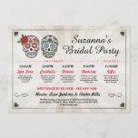 Bridal Shower Itinerary Bachelorette Sugar Skulls Invitation