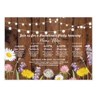 Bridal Shower Itinerary Bachelorette Wild Flowers Card