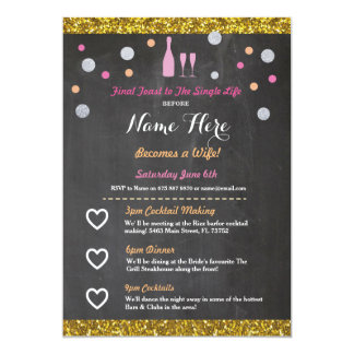 Bridal Shower Itinerary Champagne Bachelorette Card