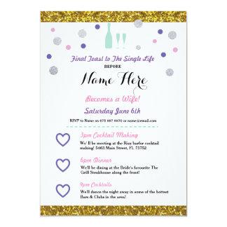 Bridal Shower Itinerary Champagne Invitation