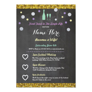 Bridal Shower Itinerary Champagne Invitation
