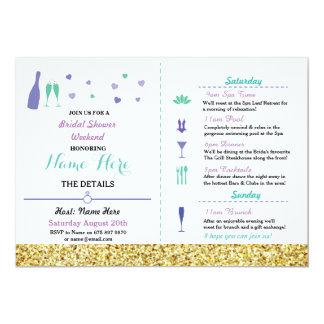 Bridal Shower Itinerary Heart Purple Gold Invite