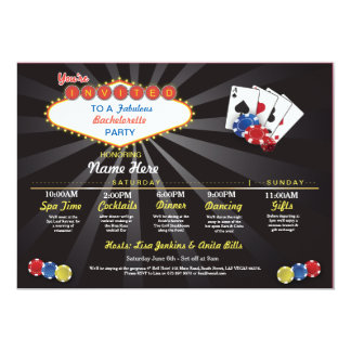 Bridal Shower Itinerary Las Vegas LV Bachelorette Card