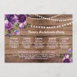 Bridal Shower Itinerary Purple Flower Lights Invitation