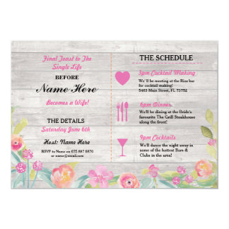Bridal Shower Itinerary Rustic Dinner Bachelorette Card
