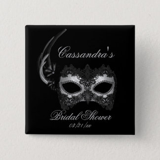 """Bridal Shower"" - Lace Masquerade Mask Button"