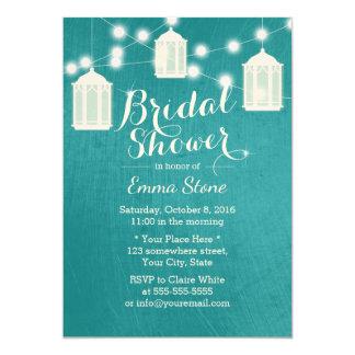 Bridal Shower Lanterns & Strings Modern Teal Invitation