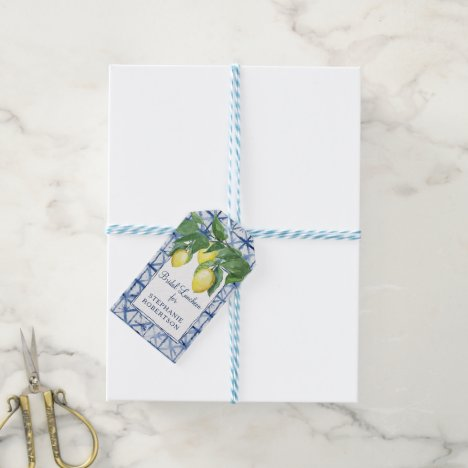 Bridal Shower Lemon Theme w Shibori Blue Art Gift Tags