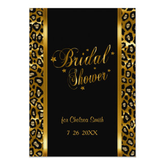 Bridal Shower - Leopard Print With Gold Lettering Card
