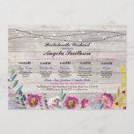 Bridal Shower Lights Floral Itinerary Wood Vintage Invitation