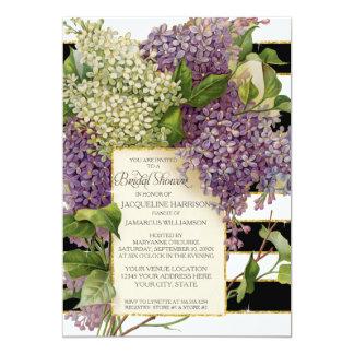Bridal Shower Lilac Floral Vintage Wide Stripes Card