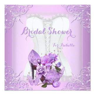 Bridal Shower Lilac Rose Hi Heel Lace Butterfly 2 Card