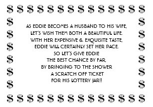 bridal shower lottery card for groom