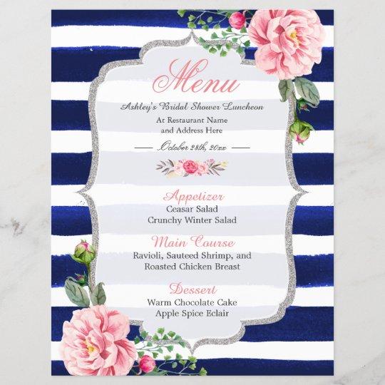 bridal shower luncheon menu floral navy stripes