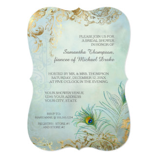 Bridal Shower Luxe Gold Peacock Feathers Elegant Card