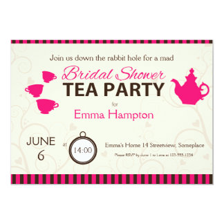 Bridal shower mad tea party pink brown stripes card