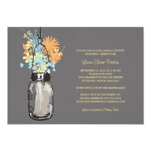 Bridal Shower Mason Jar and Wildflowers 5x7 Paper Invitation Card