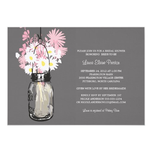 Bridal Shower Mason Jar and Wildflowers 5x7 Paper Invitation Card
