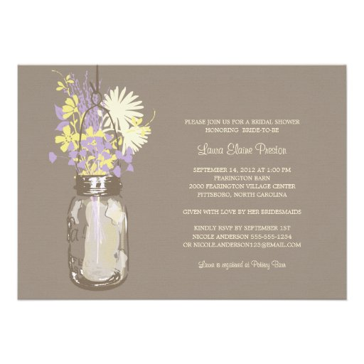 Bridal Shower Mason Jar and Wildflowers Announcements