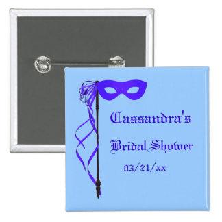 """Bridal Shower"" - Masquerade Mask w/ Ribbon Button"