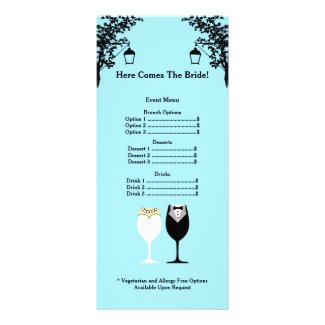 Bridal Shower Menu Rackcard