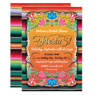 Bridal Shower Mexican Fiesta Party Gold Glitter Card