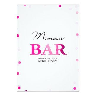 Bridal Shower Mimosa Bar Sign | Pink Confetti Card