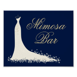 Bridal Shower Mimosa Sign   Elegant Wedding Gown