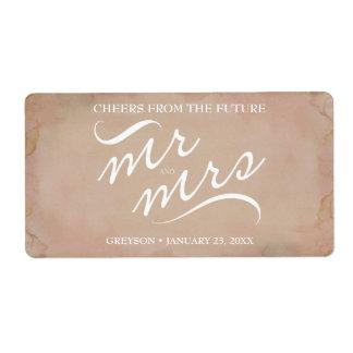 Bridal Shower Mini Champagne Label Pink