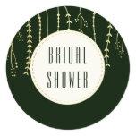 Bridal Shower   Modern Golden Fronds on Dark Green Card