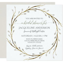 Bridal Shower Modern Pussy Willow Twig Wreath Card