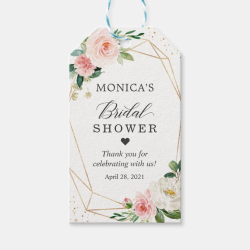 Bridal Shower Modern Romantic Blush Pink Floral Gift Tags