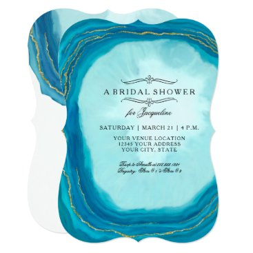 Beach Themed Bridal Shower Modern Simple Geode Blue Painted Art Card