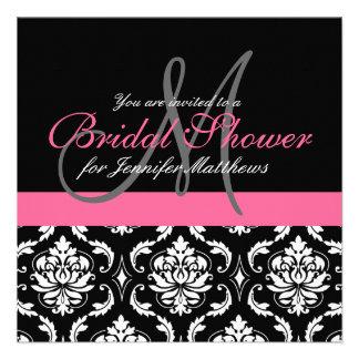 Bridal Shower Monogram Damask Invitations Pink