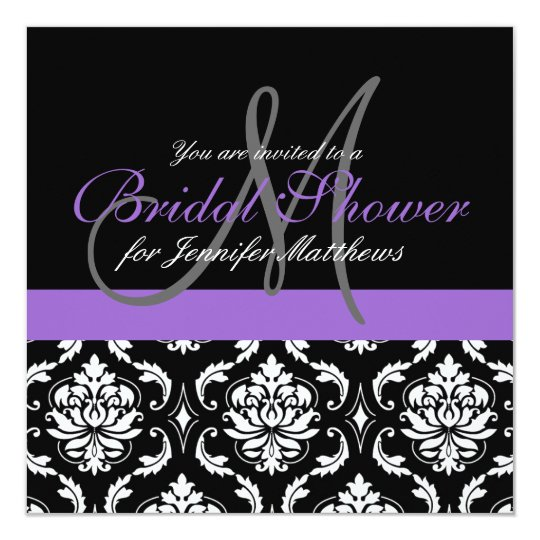 Bridal Shower Monogram Damask Invitations Purple