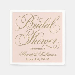 Bridal Shower Napkins | Blush Pink + Antique Gold at Zazzle