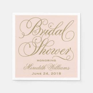 Bridal Shower Napkins | Blush Pink + Antique Gold Paper Napkins