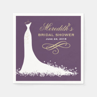 Bridal Shower Napkins | Elegant Wedding Gown at Zazzle