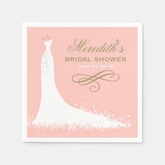 Bridal Shower Napkins | Elegant Wedding Gown Standard Cocktail Napkin