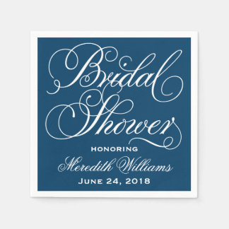 bridal shower napkins navy blue and white