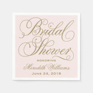 Bridal Shower Napkins | Pale Pink and Gold