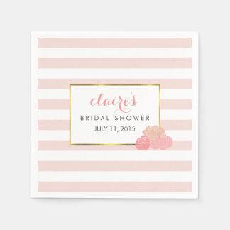 Bridal Shower Napkins | Pink Stripe & Blush Peony