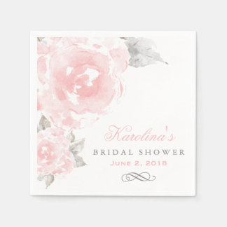 bridal shower napkins pink watercolor roses