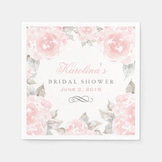 Bridal Shower Napkins   Pink Watercolor Roses Standard Cocktail Napkin