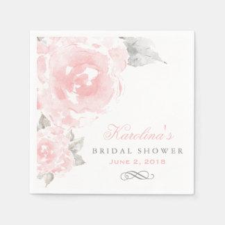 Bridal Shower Napkins | Pink Watercolor Roses Standard Cocktail Napkin