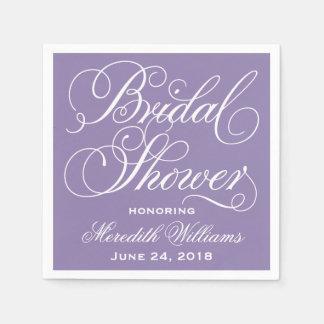 Bridal Shower Napkins | Purple and White