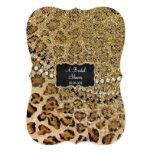 Bridal Shower Natural Gold Leopard Animal Print Card